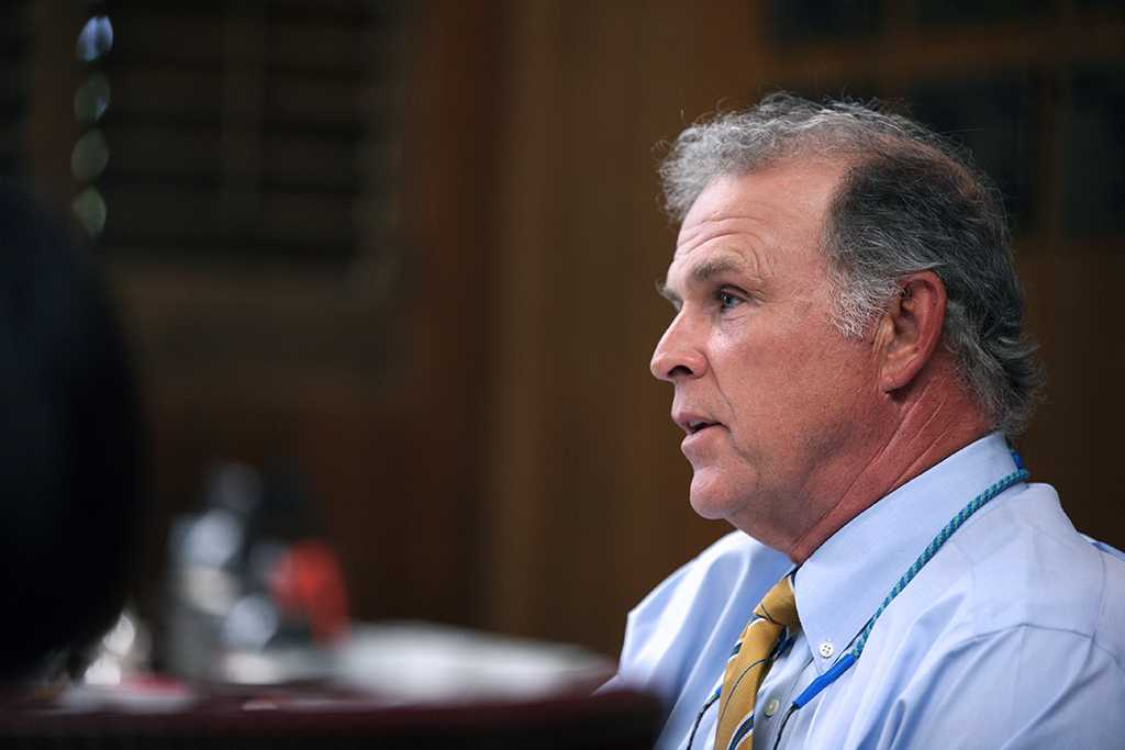 Shawn Hessing, Board of Regents chair, leads discussion at the Aug. 4 Board of Regents meeting.