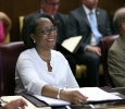 Tiffany Burks, board of regents member, listens to discussion at the Board of Regents meeting on Aug. 4.