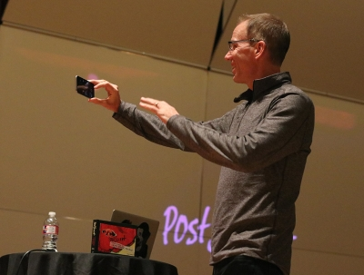 Frank Warren, Artist-Lecture Series guest speaker, makes a video for social media letting his followers and fans know where he will be next after he finishes his presentation at Midwestern State in Akin Auditorium, Thurs. Jan. 18, 2018. Photo by Rachel Johnson