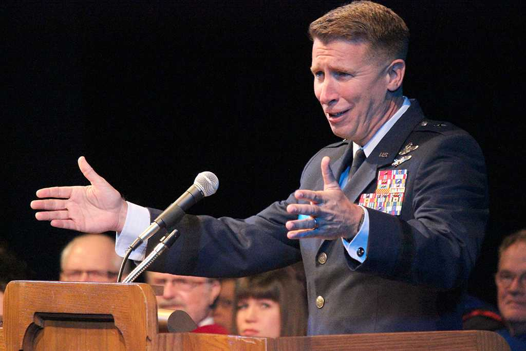 Brig. Gen. Patrick J. Doherty is Commander, 82nd Training Wing, Sheppard Air Force Base, gives a last minute speech as per request of President Suzanne Shipley at her inaguration, Dec. 11. Photo by Rachel Johnson