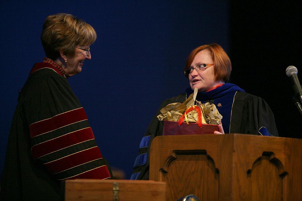 Lynette Watts, president of the MSU Alumni Association, at the inauguration of Suzanne Shipley, university president, Midwestern State University, Dec. 11, 2015. Photo by Bradley Wilson