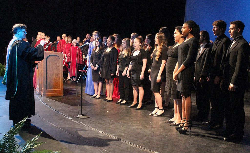 The University Choir performs the MSU Alma Mater at the end of the Inaguration of Suzanne Shipley, the eleventh president, held in Fain Fine Arts Auditorium, Dec. 11. Photo by Rachel Johnson