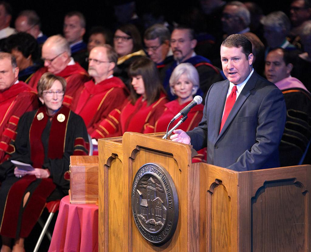 Tobin McDuff, sports director at KFDX3, welcome's the adiance and introduces guest speakers thoughtout Suzanne Shipley, university president, Presidential Inauguration in Fain Fine Arts Center Theatre, Dec, 11, 2015. Photo by Francisco Martinez