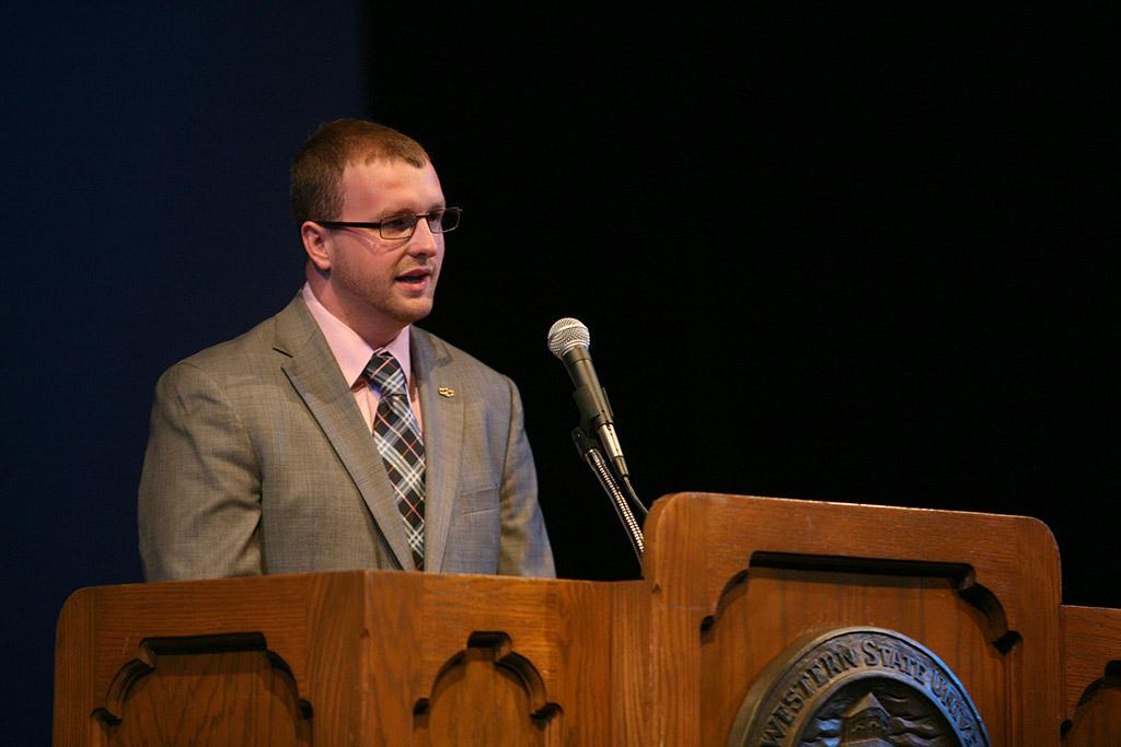 Student Body President Jesse Brown at the inauguration of Suzanne Shipley, university president, Midwestern State University, Dec. 11, 2015. Photo by Bradley Wilson