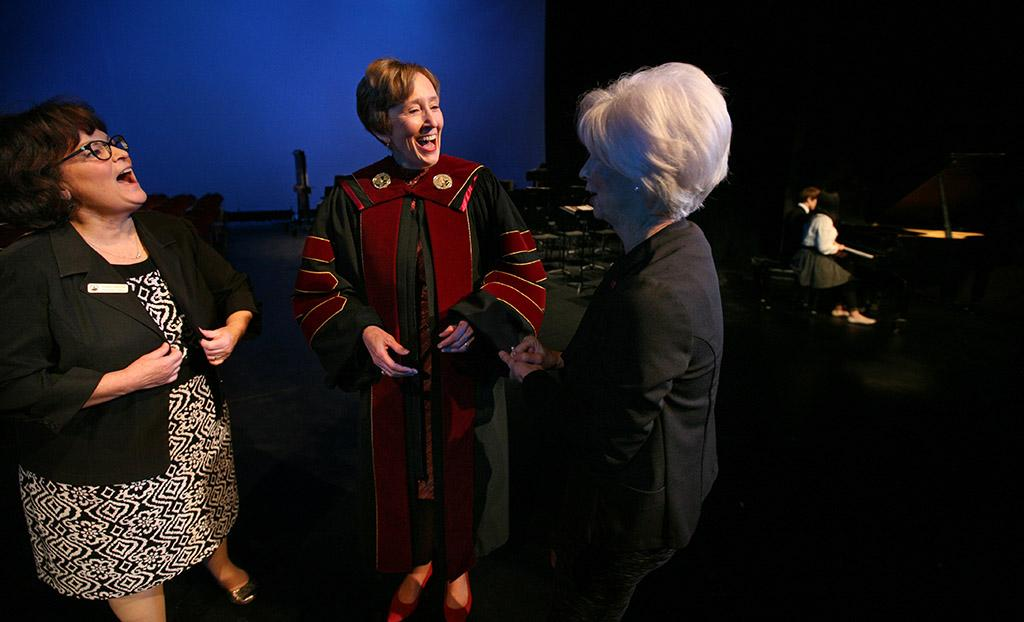 Debbie L. Barrow and Nancy Marks at the inauguration of Suzanne Shipley, university president, Midwestern State University, Dec. 11, 2015. Photo by Bradley Wilson