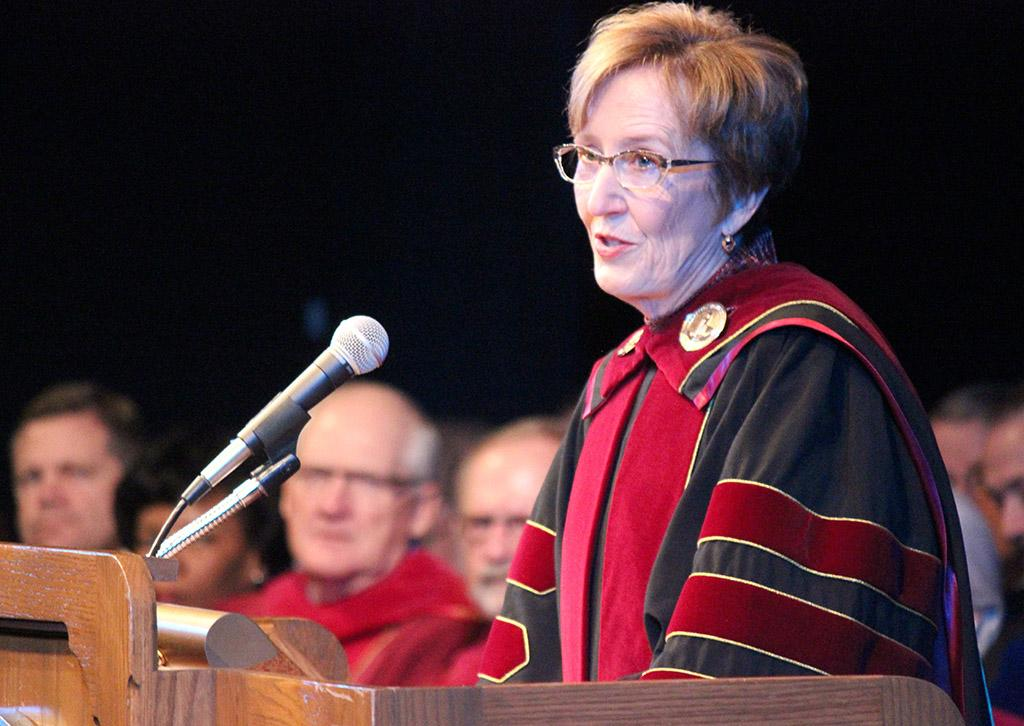 """Suzanne Shipley gives her presidential address at the Inaguration of Suzanne Shipley, the eleventh president, held in Fain Fine Arts Auditorium, Dec. 11. """"We are building a strong foundation, one job at a time and one educated student at a time. I know working together we can do it,"""" Shipley said. Photo by Rachel Johnson"""