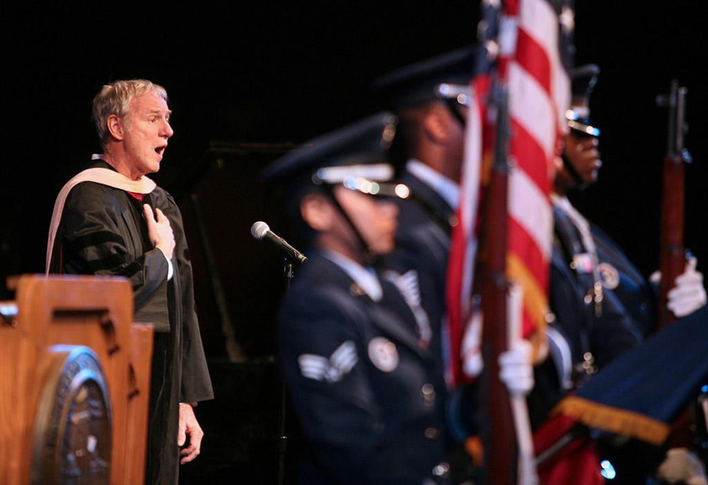 Don Maxwell sings the Star Spangled Banner at the inauguration of Suzanne Shipley, university president, Midwestern State University, Dec. 11, 2015. Photo by Bradley Wilson