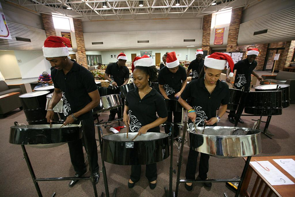 Steel Drummers perform at the inauguration of Suzanne Shipley, university president, Midwestern State University, Dec. 11, 2015. Photo by Bradley Wilson