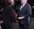 Glen Barham, Mayor of Wichita Falls, shakes Suzanne Shipley, university president, hand after speaking at the Presidential Inauguration in Fain Fine Arts Center Theatre, Dec, 11, 2015. Photo by Francisco Martinez