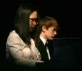 """Nahye Byun and Aaron Johnson perform an original composition, """"Homage"""" at the inauguration of Suzanne Shipley, university president, Midwestern State University, Dec. 11, 2015. Photo by Bradley Wilson"""