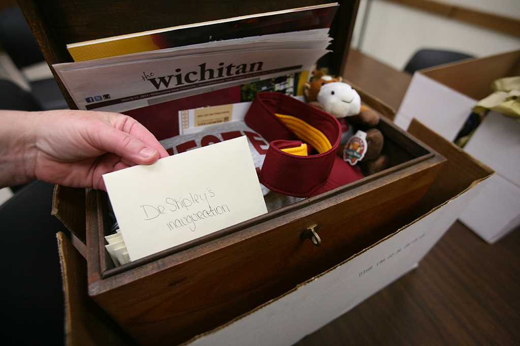 A time capsule given from the students to Suzanne Shipley, university president, Midwestern State University, Dec. 11, 2015. Photo by Bradley Wilson