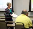 Vikki Chaviers, licensed professional counselor, speaks at the QPR suicide prevention training for faculty, on April 12 in Dillard 189. Photo by Rutth Mercado.