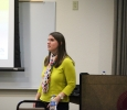 Lori Arnold, licensed professional counselor, speaks at the QPR suicide prevention training for faculty, on April 12 in Dillard 189. Photo by Rutth Mercado.