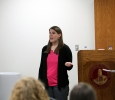 Lori Arnold L.P.C talks about alcohol during the question, persuade, refer suicide prevention student training on April 14.