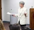 Vikki Chaviers L.P.C. speaks at the question, persuade, refer suicide training program on April 14.