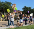 Protestors apart of the Resist Hate Rally march infront of the Hardin Building on Midwestern State campus on Sept. 1. Photo by Rachel Johnson