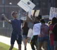 Christopher Cruz, theater performance junior, dances away the hate at the the Resist Hate Rally held in Sunwatcher Plaza on Sept. 1. Photo by Marissa Daley