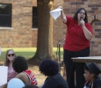 Mel Marinez, Pastor of Metropolitan Community Church, gives a speech about hate and how to overcome it for the Resist Hate Rally held in Sunwatcher Plaza on Sept. 1. Photo by Marissa Daley