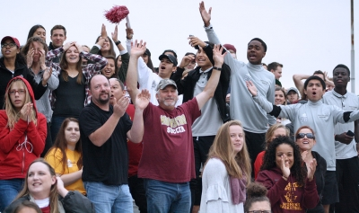 Midwestern State University fans celebrate after defender and kinesiology junior Patrick Fitzgerald socers his first goal of the match against Colorado Mesa University. Nov 12. Photo by Bridget Reilly