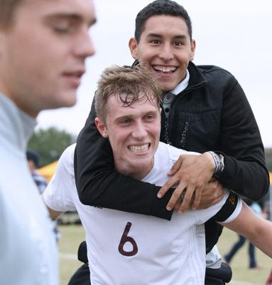 Senior midfeilder and business major Pierre Bocquet, celebrates with kenesiology sophomore Sergio Lara, after winning 3-0 against Colorado Mesa University. Nov 12. Photo by Bridget Reilly