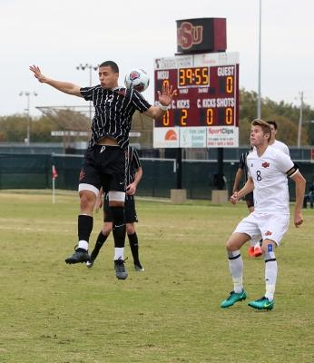 Ross Fitzpatrick waits for the ball at the NCAA Division II South Central Regional, Nov. 12, 2017. MSU beat Colorado Mesa 3-0. Photo by Bradley Wilson