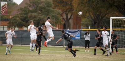 Scott Doney, psychology senior, attempts a header towards the goal during the NCAA Division 2 South Central Regional game vs Colorado Mesa, where MSU won 3-0, Sunday, Nov. 12, 2017. Photo by Francisco Martinez