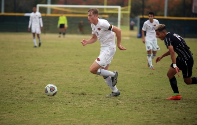 Pierre Bocquet runs with the ball at the NCAA Division II South Central Regional, Nov. 12, 2017. MSU beat Colorado Mesa 3-0. Photo by Bradley Wilson