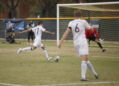 Carlos Flores, sports medicine freshman, shoots the ball into the goal during the NCAA Division 2 South Central Regional game vs Colorado Mesa, where MSU won 3-0, Sunday, Nov. 12, 2017. Photo by Francisco Martinez
