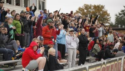Crowd cheers after MSU's first goal during the NCAA Division 2 South Central Regional game vs Colorado Mesa, where MSU won 3-0, Sunday, Nov. 12, 2017. Photo by Francisco Martinez