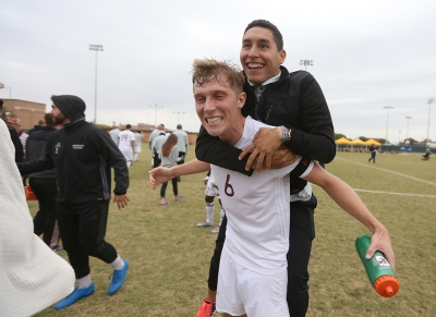 Pierre Bocquet and Julian Varajas react after the NCAA Division II South Central Regional, Nov. 12, 2017. MSU beat Colorado Mesa 3-0. Photo by Bradley Wilson