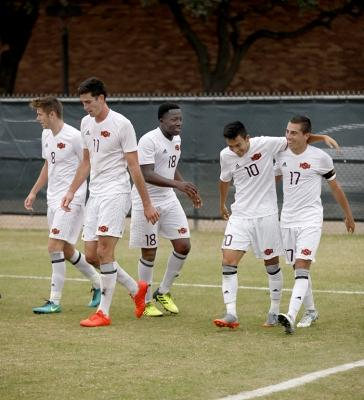 Carlos Flores, sports medicine freshman, walks back after celebrating his goal with his teammates during the NCAA Division 2 South Central Regional game vs Colorado Mesa, where MSU won 3-0, Sunday, Nov. 12, 2017. Photo by Francisco Martinez