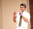 Wanigasekera shares his high school experiences from Sri Lankan to the audience.