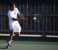 Dylan Hall, mass communication junior, at the tennis tournament held at Midwestern State against Ferris State (Michigan). Photo by Timothy Jones.