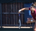 Greta Lazzarotto, mangement sophomore, at the tennis tournament held at Midwestern State against Tarleton State. Photo by Timothy Jones.