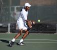 Vasudev Vijayaraman, computer science junior, at the tennis tournament held at Midwestern State against Ferris State (Michigan). Photo by Timothy Jones.