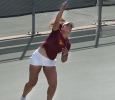 Eirini Kontaki, exercise physiology sophomore, serves the ball to the other side during a doubles game against Metro State at the MSU Tennis Center. Photo by Rachel Johnson