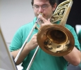 James Ivey, music and mechanical engineer senior, practices under the instructions of Hana Beloglavec, visiting instructor and internationl award-winning trombonist, during a private session, Sept. 10. Photo by Rachel Johnson