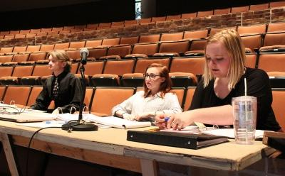 """at the Jan. 28. 2018 rehearsal for """"Urinetown."""" Photo by Cortney Wood"""