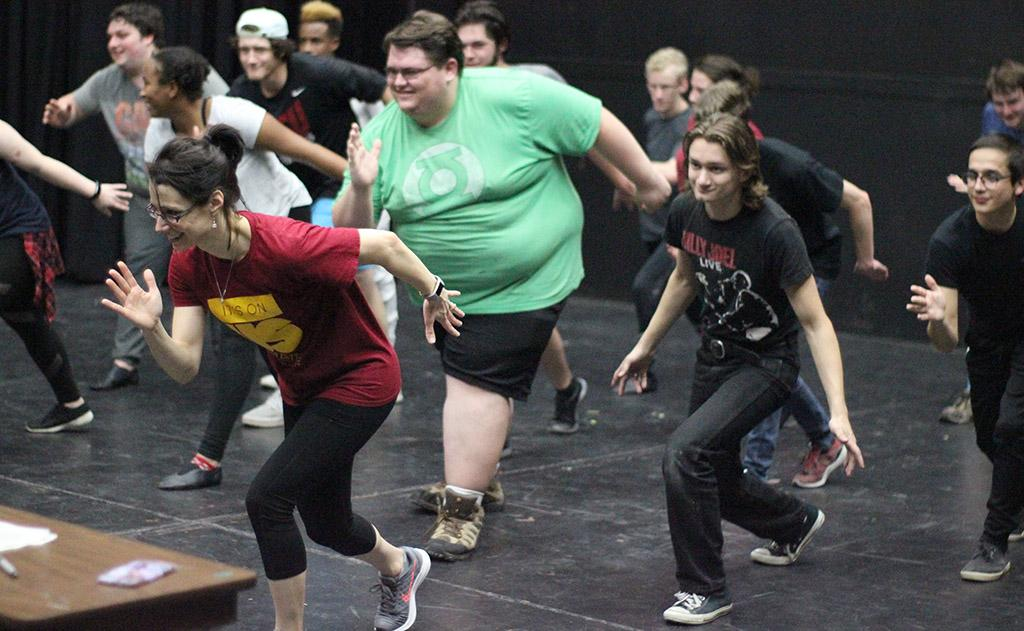 Students do the dance portion of the audtion for Urinetown, Nov. 27, 2017. Photo by Rachel Johnson