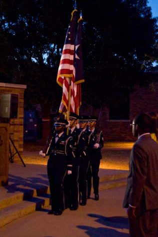 The Sheppard Air Force Base Honor Guard presenting the colors Sunday evening. (Photo by Hannah Hofmann)