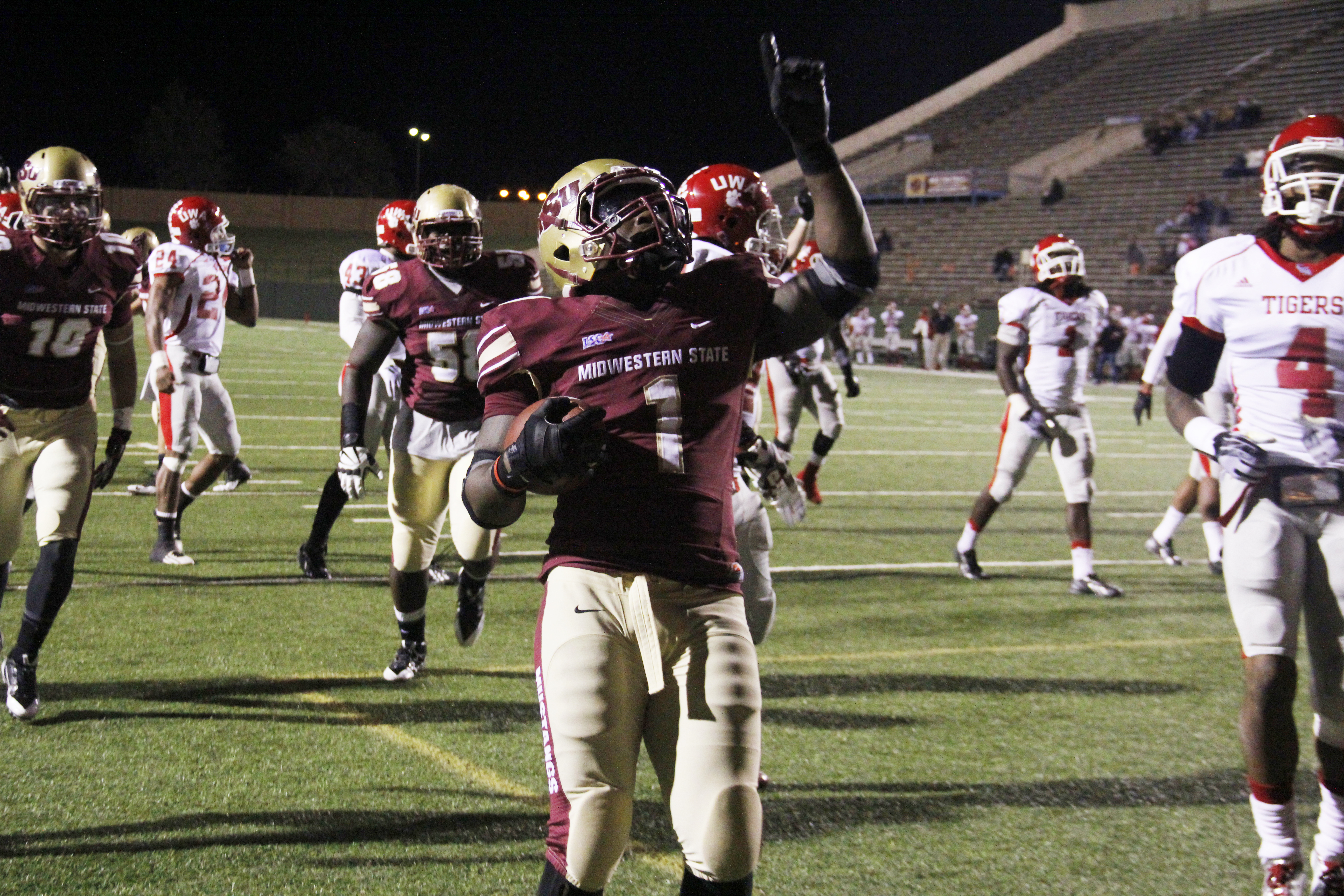 Keidrick Jackson, senior in criminal justice, celebrates after a touchdown in the second quarter. MSU would defeat the University of West Alabama in a rout of 45-21 October 19 at Memorial Stadium. Jackson rushed for 136 yards and had three touchdowns becoming MSU's all-time leading rusher with 3,596 yards. MSU plays at Angelo State October 26 with kickoff at 6 p.m.