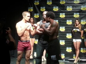 Justin Sander, a professional MMA fighter from Canada, faces off with Tolu Techdaddy Agunbiade in Las Vegas before the King of the Cage fight that ran live on MavTV. Contributed photo