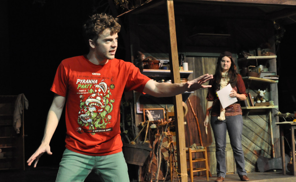"Houston Pokorny, sophomore in theatre, participates in rehearsal for the theatre department's production of Wiley and the Hairy Man. ""It was very nerve-wracking because [Dement] told me we had two and a half weeks until the show and everyone else has been working for almost four weeks. I had to get my lines down, and I am mostly off book now, in a week,"" Houston Pokorny, sophomore in theatre, said. ""It's been very challenging, especially coming in with everyone knowing their blocking and I felt like I was the total 'new guy.'"""