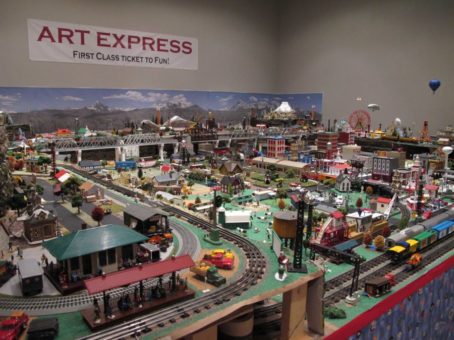 Jim Hughes' model train exhibit nears completion as setup began in August. The opening reception is this Friday from 5-7 p.m. at the Wichita Falls Museum of Art.