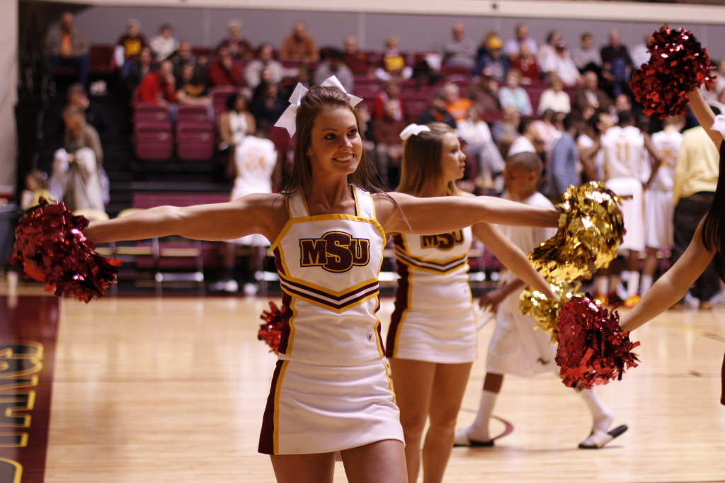 Cheerleaders at the men's basketball game against Oklahoma City University Nov. 25 at D.L. Ligon Coliseum.