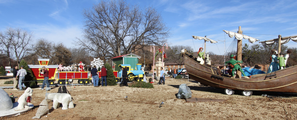 Volunteers help setup displays for the MSU-Burns Fantasy of Lights