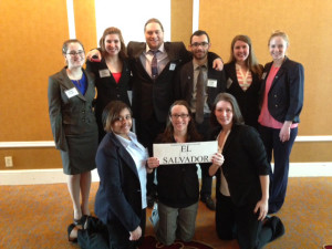 Back Left to Right: Emily Baudot, Madi Parker (Soph Political Science), Ian Potthoff (Senior Political Science), Brad Hunt, Tiernan Harris, and Julie Brady (Soph Political Science)  Front Left to Right: Alexis Gay, Amy Brister (Head Delegate), and Brandi Rhoads (Senior Political Science and International Studies. Photo provided by Steve Garrison
