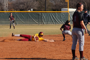 In the game against Oklahoma Christian on Feb. 13, MSU was defeated 8-10. Haley Howerton, Undecided Sophomore, makes it to second after a hit. Photo by Mirae Duncan