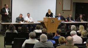 Candidates for county commission present their platforms at a forum Feb. 25. Photo by Lauren Roberts.