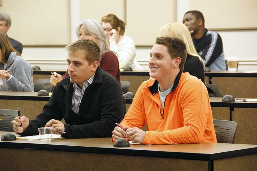 "Logan Spidell, senior in criminal justice, and Preston Franks, senior in phycology, attended the Graduate School Open House information night that was held in Dillard College of Business Administration, room 189, on Feb. 25. Spidell said, ""My advisor suggested me to come to get more information about how the university could help me choose my career pathway."" Franks said, ""I think being a forensic physiologist for the FBI would be pretty cool but I am still open for other options."""